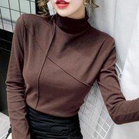 T-shirt Turtleneck T-shirt femminile T-shirt bianca coreana T-shirt da donna spessa calda manica lunga autunno inverno top tee shirt femme blu1