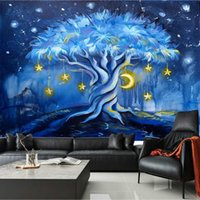 Cartoon Night View Blue Tree 3d Wallpaper for Children'...