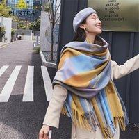 다채로운 격자 무늬 캐시미어 목도리 여성 겨울 스카프 포장 여성 Poncho 숙녀 양모 블렌드 Pashmina 여성 따뜻한 Tippet Scarfs 201218
