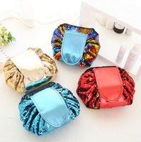 Magia Mermaid Lantequinas de Viagem Bolsa Preguiça Drawstring Makeup Bag Mulheres Organizador Armazenador Saco Caixa Caixa 4 Cores
