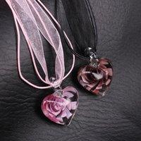 Colgante de corazón de cristal Murano Collar de flores de color rosa hecho a mano Kettingen Voor Vrouwen Nuevo diseño
