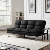 US-amerikanische Lager Wohnzimmermöbel Relax Lounge Futon Sofa Bett Schwarze Stoff Schnelle Lieferung