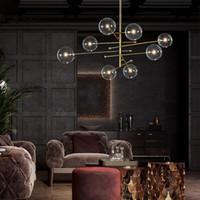 Современный дизайн стеклянный шарик люстра 6 головы чистого стекла пузырьковая лампа люстра для гостиной кухня черный / золотой светлый крепеж свободный EMS