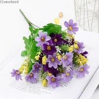 Couronnes de fleurs décoratives artificielles pour la maison décoration Daisy bureau décoration plante plante plante fleur de soie orchidée chrysanthème