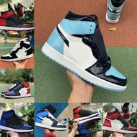 2021 Новые Мужчины Женщины Высокие 1 1S Баскетбольные Обувь БЕНЕННЫЙ БЕНВЕННЫЙ ДОЙ ЧЕРНЫЙ Грин Игра Королевский UNC Патент Чикаго Обсидианский Фрагмент Твист Спортивная обувь