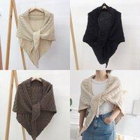 Женщины вязание шерстяной мода шаль осенью и зимой леди Pure Color Храните теплый треугольный шарф горячие продажи 24 5JM J2