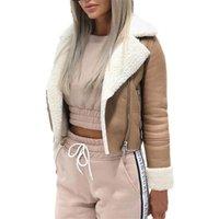 الخريف النسائية سترة 2021 الأزياء التلبيب جلد الغزال مشبك بارد فو فو الضأن الصوف دراجة نارية جاكيتات معطف قصير أنثى معطف