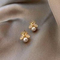 Novo Trendy Cristal Imitação Pérola Bee Gold Brincos Para As Mulheres Luxo Requintado Brincos Coreanos Jóias Acessórios Presentes