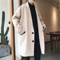 Hombres Invierno Woolen Trench Coat Fashion Solid Coreano Pareja Joker Broven Rompeatry Chaqueta Larga Casual para Hombres Vintage Nuevo