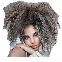 Mulheres Pretas Cinza Cabelo Extensão Prata Cinza Afro Puff Coroa Curly Curly Humano Cabelo Cabelo Clipe em 100% Real Cabelo 100G 120G Grátis