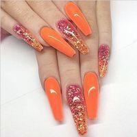 20 teile / box glänzend orange falsche nägel lang Sarg volle Abdeckung Fingernägel Presse auf künstlichen Tipps Nail art Dekorationen