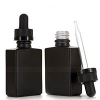 30ml noir givré verre liquide réactif réactif bouteille bouteille bouteilles carrées huile essentielle de parfum bouteille huile de fumée e bouteilles liquides ewd3033