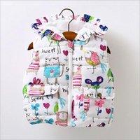 Kurtki Jesień Little Girls Waistcoat Baby Ubrania Kwiat Druku Niemowlę Zima Kamizelka Born Ness Brand Kids Kurtka White1