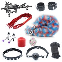 10pcs Adult Games Metal Tail Anal Plug Nipple Clip Leather Whip Collar Handcuffs Sex Bdsm Bondage Sex Tools for Couples Y201118