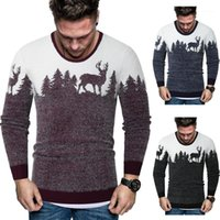 Sweater Long SLeeve Crew Neck Slim Sweater Homme Autumn WInt...