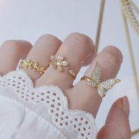Anéis de cluster 14k real ouro grande borboleta borboleta cz anel ajustável anti-alérgico zircônia bagaço anillos jóias pingente acessórios1