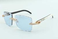 2021 أحدث نمط الطبيعي مختلط بوفالو قرون المعابد النظارات الشمسية 3524020، قطع عدسة عدسة نظارات الماس لا نهاية لها، الحجم: 58-18-140mm