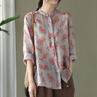 Johnature 2020 Autumn New Cotton Linen Retro Print Stand Long Sleeve Single Breasted Shirt Loose Comfortable All-match Women Top