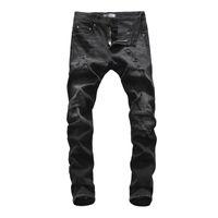 2021 Concepteur de mode Haute Qualité Coton Hole Jeans minceur Moto Driver Pantalons HIP-HOP Men's Jeans D152