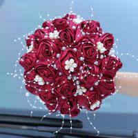 Maschi da sposa da sposa perle nastri con fiori fatti a mano Peals Crystal Strass Rose Rose Matrimonio Forniture da sposa Sposa Holding Brooch Bouquet