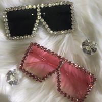 Gafas de sol de gran tamaño cuadrado Zenottic Sombras de moda Mujeres Vintage Colorido Rhinestone Gran Marco completo UV400 Gafas de sol