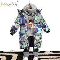 Erkek için Ceket 2020 Yeni Marka Kapüşonlu Kış Ceketler Grafiti Kamuflaj Parkas Gençler Için Erkek Kalın Uzun Ceket Çocuk Giysileri Q1123