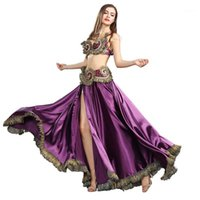 Palcoscenico Abbigliamento tribale Belly Dance Vestiti da danza per le donne 3 pezzi Outfit Set Beaks Bra cintura Big Swing Gonne Gypsy Performance Costume 1190841
