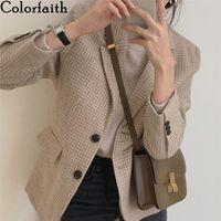 Colorfaith New 2020 Autumn Winter Women's Blazers Pockets Jackets Elegant Vintage Oversize Checkered Woolen Plaid Tops JK1383