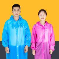 투명한 비옷 여성 남성 휴대용 야외 여행용 레인웨어 방수 일회용 캠핑 후드 Ponchos 플라스틱 비 커버