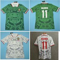 التايلاندية 1998 المكسيك الرجعية الفانيلة الكلاسيكية خمر لويس غارسيا بلانكو لكرة القدم جيرسي المنزل الأخضر هيرنانديز 98 كرة القدم قميص كاميسا دي فيوتول