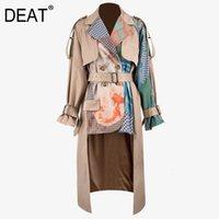 DEAT new autumn winter turn-down collar full sleeves printed waist belts spliced big size windbreaker female jacket PB33604 201124