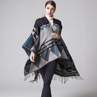 2020 бренд женщин зимний шарф теплый шаль дамы винтажные клетки одеяло вязать крючок кашемировые пончоки женские