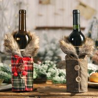 New Christmas Plush Wine Bottle Bags Button Plaid Wine Bottle Cover Christmas Gift Bag Home Decoration Wholesale