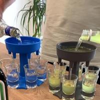6 atış cam dağıtıcı tutucu şarap dağıtıcı taşıyıcı caddy likör dağıtıcı parti içecek içme oyunları bar kokteyl şarap pourer
