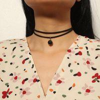 Chokers Boutique Boutique бархата черные бусины подвесной колье ожерелье для женщин девушки мода воротник