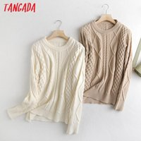 Tangada Women 2020 Fashion White Twist Oversized Knitted Sweater Vintage Long Sleeve Female Pullovers Chic Tops BC15