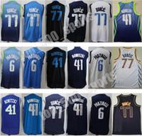 Hommes Basket Basket Basket-ball Jersey de Doncic 77 Krisps Porzingis 6 Dirk Nowitzki 41 Édition Gagnée Citcheté Bleueau Bleu Bleu Bleu