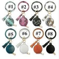 Blank Bracelet Leather Wristlet Wrist PU Key Keychain Bag Tassel Purse Bracelets Ring Earphone Bangle Holder With Wristband E121006 Cir Fvqj