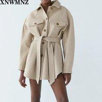Xnwmnz za mujer 2020 Moda con cinturón suelto chaqueta de lana abrigo vintage manga larga bolsillos laterales femenino ropa exterior chic abrigo