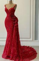 2020 арабский ASO EBI красные роскошные русалки вечерние платья вечернее платья шеи выпускные платья кружева пусренные формальные партии второе приемные платья ZJ493