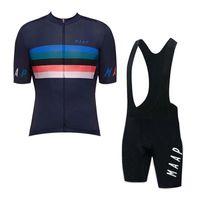 Bisiklet Jersey Set Maap Takım Erkekler Yaz Nefes Kısa Kollu Bisiklet Gömlek Önlüğü Şort Takım MTB Bisiklet Kıyafetler Açık Spor Y080907