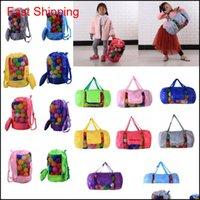 Kinder Mesh Beach Bag Shell Tasche Tasche Tragbare Faltspielzeug Aufbewahrungstaschen Spielzeug Kinder Sandboxen Rucksack D24 * H48CM FFA188 12pcs FDNZQ Z6LRD