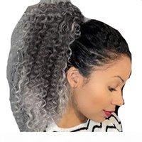 Graue Kordelzug-Pferdeschwanz-Erweiterungen Ombre-schwarze graue Pferdeschwänze für schwarze Frauen Knink lockige Haarschwänze Zwei Ton Pferdeschwanz Haarteil graue Haare