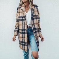 여성용 양모 혼합 여성을위한 가을 의류 패션 격자 무늬 인쇄 긴 재킷 옷깃 트렌치 코트 오버 코트 겨울 Abrigos Mujer