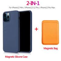 2 in 1 Manyetik Sıvı Silikon Kılıf + Cüzdan Kart Çanta Iphone 12 Pro Max Mini Magsafe Mıknatıs Kart Tutucu iPhone 12 Için