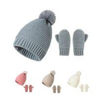 Crianças de bebê chapéus de malha e luvas conjunto inverno quente pompon gosinhos de luva meninos meninas crânio tampões mitenes conjuntos infantil knit crochê chapéu luvas