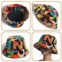 Amplia sombreros de alemán Moda al aire libre multicolor multicolor Piel de imitación Patrón de Patrón Gorros Soft Warm Mujer Winter Bucket para las mujeres Z4Y5
