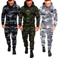 Mens 세트 육군 유니폼 위장 전술 전투 셔츠 + 바지 세트 지퍼 후드 스포츠 슈트 맨 옷 세트 스포츠웨어