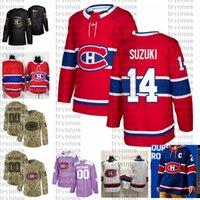 2021 Retromarcia Retro Personalizza # 14 Nick Suzuki Montreal Canadiens Hockey Jerseys Golden Edition Camo Veterans Day Fights Cancer Camicia personalizzata