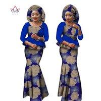 Roupas étnicas Bazin Bazin Riche Plus Size Impressão 2 Parte Saia Conjunto com Hood Dashiki Tradicional Africano para Mulheres WY1304